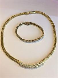18k YG/Diamond Necklace & Bracelet c.1950