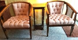 Pair tufted arm chairs & small square shelf table