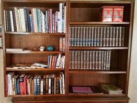 Two solid wood bookcases & books