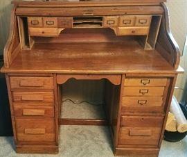 Genuine oak roll top desk