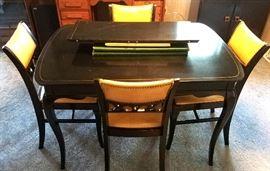 Black enamel table, leaf, pads & four sturdy chairs