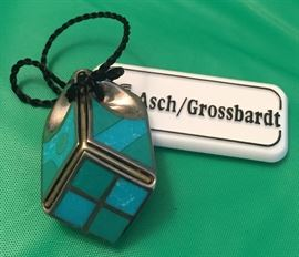 Asch/Grossbardt Pendent: Turquoise, Sterling Silver, 18K Gold