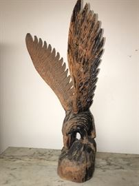 American carved wood figure spread wing eagle 20th century