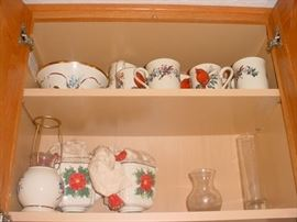 Some of the MUCH holiday china and serving items