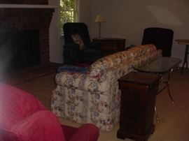 Living room suite..sofa, brass/glass table, pair of recliners, other side chairs and end tables