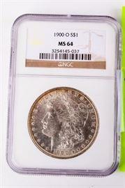 Lot 297 - Coin 1900-O Morgan Silver Dollar NGC MS64