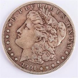 Lot 3 - Coin 1901-S Morgan Silver Dollar Very Fine +