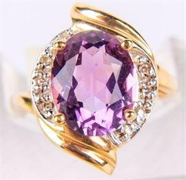 Lot 20 - Jewelry 14kt Yellow Gold Emerald & Diamond Ring