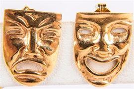 Lot 10 - Jewelry 14kt Yellow Gold Greek Tragedy Earrings