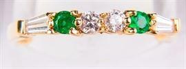 Lot 5 - Jewelry 14kt Yellow Gold Emerald & Diamond Ring