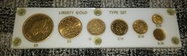 GOLD COIN TYPE SET - 1890 CC 20$; 1891 CC 10$; 1892 CC 5$; 1855 P INDIAN PRINCESS; 2.5$; 1$ TYPE I ; & 1$ TYPE III