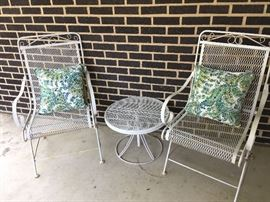 White wrought iron table & chairs