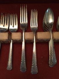 Silverplate flatware-Rogers Oneida Del Mar pattern. 63 pieces