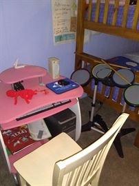 Bunk beds, Junior computer desk, wooden chair, Junior instruments