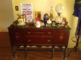 Antique Buffet, antique water jug antique lamps and other miscellaneous decoration