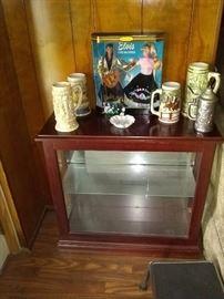 Vintage Elvis Presley and Barbie , wood and glass display shelf, ceramic and pewter beer steins