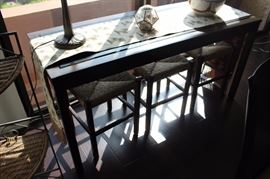 Marble top sof/library table.