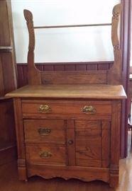Antique oak washstand