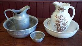 Vintage bowl and pitcher sets