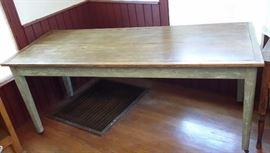 Handmade farm table with painted base.         Measures 31'by 77'