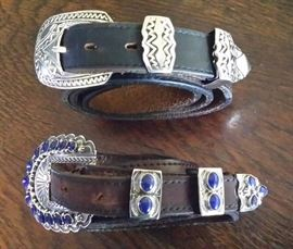 Sterling buckle set marked C R sterling                              Buckle set - sterling with lapis, marked Sunshine Reeves sterling