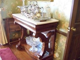 """Excellent marble top pier table ("""" petticoat table"""" ) rosewood and flame mahogany...perfect dining room server"""