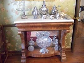 Pres cut punch bowl, silver plate, and some of the crystal pieces