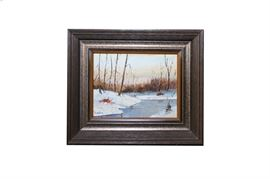 Strandberg Oil on Canvas of a Winter Landscape: An oil on canvas of a winter landscape by Strandberg. This work features a snow covered bank along a creek surrounded by barren trees. It is signed lower left. The work is housed in a simple, molded wooden frame.
