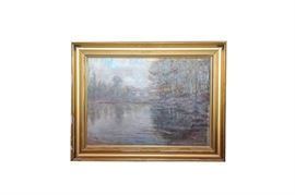 """Impressionist Style Oil Painting of a Landscape: An Impressionist style oil painting. It depicts is a peaceful lake surrounded by the calming hues of autumn. It appears to be signed """"P. Jorgensen"""" lower right. This work is housed in a cast embellished wooden frame."""