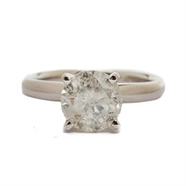 14K White Gold 1.42 CTS Diamond Engagement Ring: A 14K white gold diamond solitaire engagement ring. The ring features a 1.42 cts diamond center stone in a four prong setting.