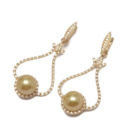 """Tara """"Chandelier"""" 14K Yellow Gold Cultured Pearl and Diamond Earrings: A pair of Chandelier 14K yellow gold cultured pearl and diamond earrings by Tara & Sons. The earrings feature golden cultured pearls in openwork settings with diamond accents."""