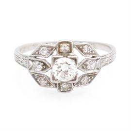 "Vintage Art Deco Platinum Diamond Ring: A vintage Art Deco platinum diamond ring. Inscribed with the date ""2-28-32""."