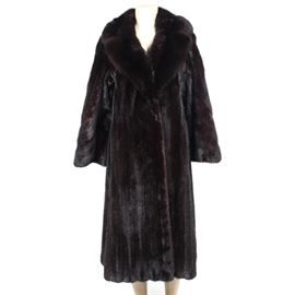 """Mahogany Mink and Sable Full-Length Coat: A mahogany mink and sable full length coat. The coat features a Russian sable collar, wide 3/4 length sleeves, and a single hook closure. The coat also has a sash closure and personalized monogram to the interior lining. Marked """"Famous Barr"""" to the inside tag."""