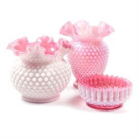 Hobnail Art Glass Assortment: This assortment of hobnail cranberry opalescent glass art includes two vases and one smaller candy dish. Unmarked.