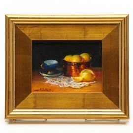 """James Sulkowski 2016 Oil Still Life on Board """"Tea Cup with Lemons"""": A 2016 oil painting on board by listed American artist James Sulkowski (Pennsylvania; born 1951), titled Tea Cup with Lemons. This Realist work depicts a gold trimmed deep blue cup and saucer, a copper pot filled with lemons and a cut lemon, all on a lace doily. It is signed and dated """"James M. Sulkowski '16"""" to the lower left and mounted in a gilt wood frame that is wired for hanging. Sulkowski was educated at Pennsylvania Academy of Fine Arts, Carnegie Mellon University, and The Art Students League and is known for realistic landscape and still life painting."""