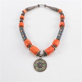 Bohemian Style Sterling Silver, Coral and Enamel Necklace: A bohemian style sterling silver, coral and enamel necklace.
