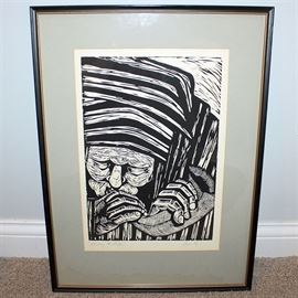 "Zemsky Signed Block Print Titled ""Blowing the Shofar"": A signed block print by Cincinnati area artist Robert Zemsky (1955-2007) titled Blowing the Shofar. This piece illustrates an Israeli figure dressed in stripped cloth, sounding a curved horn, also called the Shofar. Executed in black ink on the white paper field. It is presented under glass and matted in a wood frame, equipped to hang with a wire to the back. An additional biblical print is available, item 17CIN495-101."