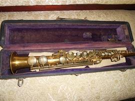vintage C.G. Conn straight saxophone in case