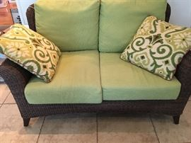 Four Seasons Wicker Loveseat, we have two for sale.  The four seasons outdoor collection excels in quality, sense of style and withstands the sun or a shower.