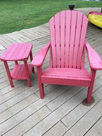 Amish Outdoor Adirondack Chair crafted from an environmentally friendly material commonly referred to as, Poly Furniture.