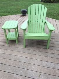 Amish Outdoor Adirondack Chair crafted from an environmentally friendly material commonly referred to as, Poly Furniture.  Pictured is green but the one for sale is yellow.