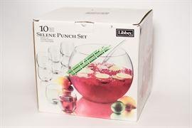 Ten Piece Selene Punch Bowl Set
