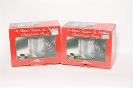 Four Pack Glass Christmas Mugs