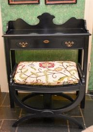 Black Lacquer Chinoiserie Writing Desk with Stool