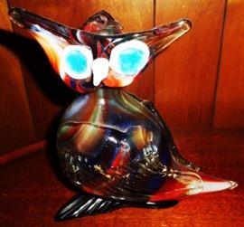 Mid-Century Modern Art Glass Owl