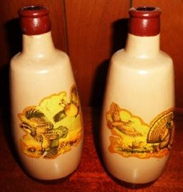 Antique Stoneware Beer Bottles with Hunting Scenes