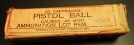 UNOPENED! WWI Remington 20 Cartridges Pistol Ball, Caliber .45 M1911, Ammunition Lot Rem. (5094) (Remington Arms Company, Inc.)