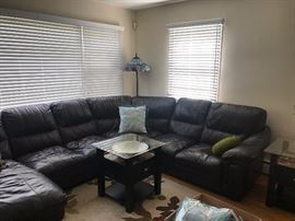 Bob's Sectional Leather Couch - $650, Pair of Glass Top Side Tables - $195 Pair