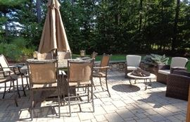 Patio Set with bar height bar stools