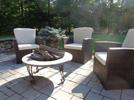 Patio set with fire place